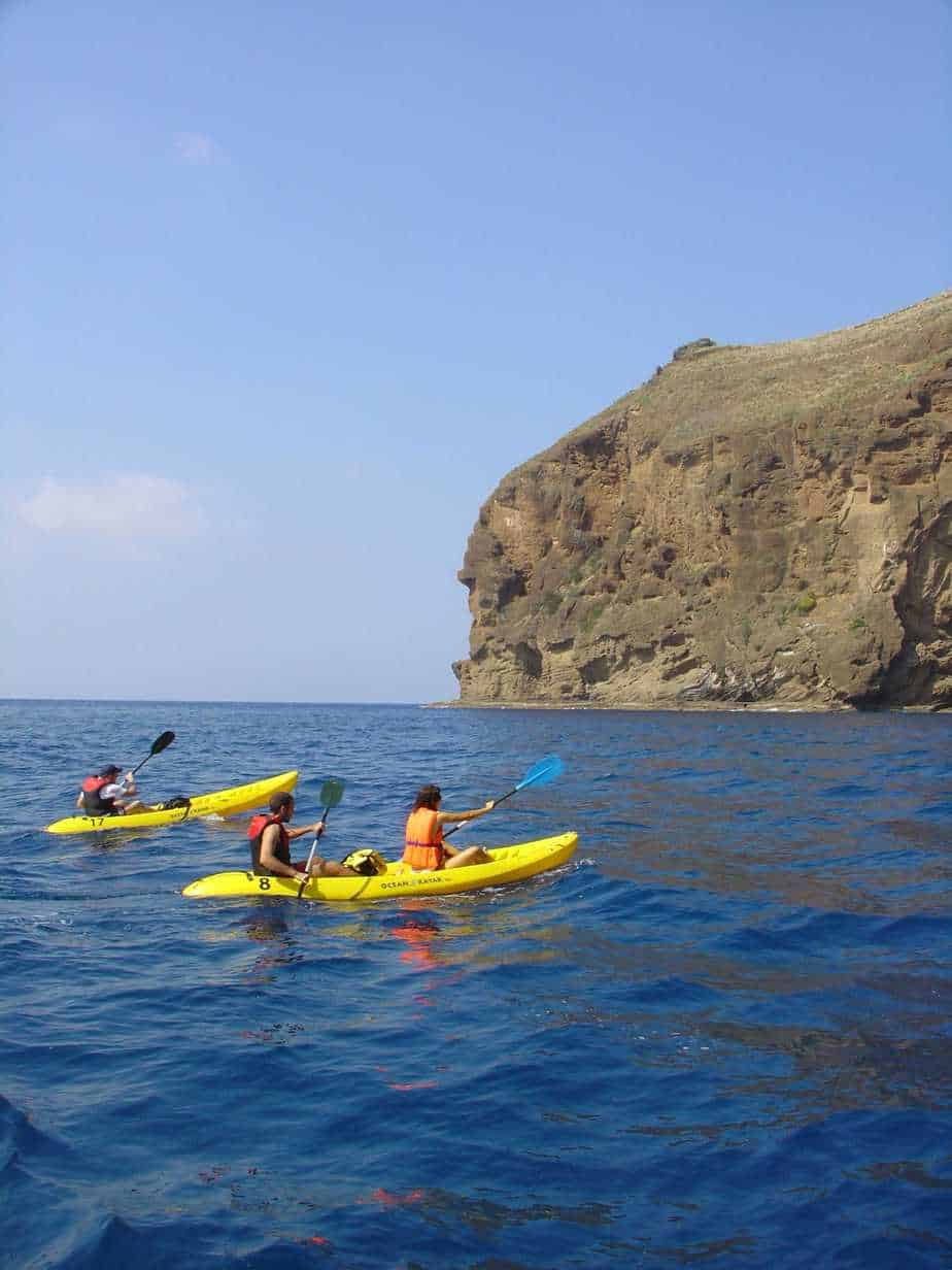 Kayaking at the marine reserve Garajau